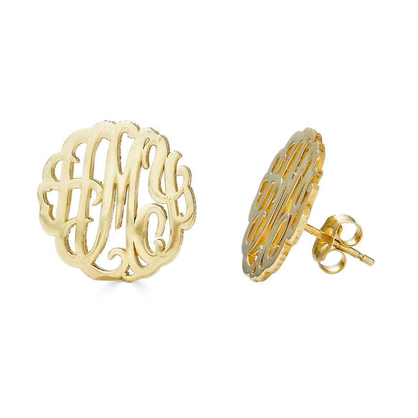 Ari&Lia 14K Earrings 14K Yellow Gold 14K Three letter script monogram Stud earrings 509-14K-YG