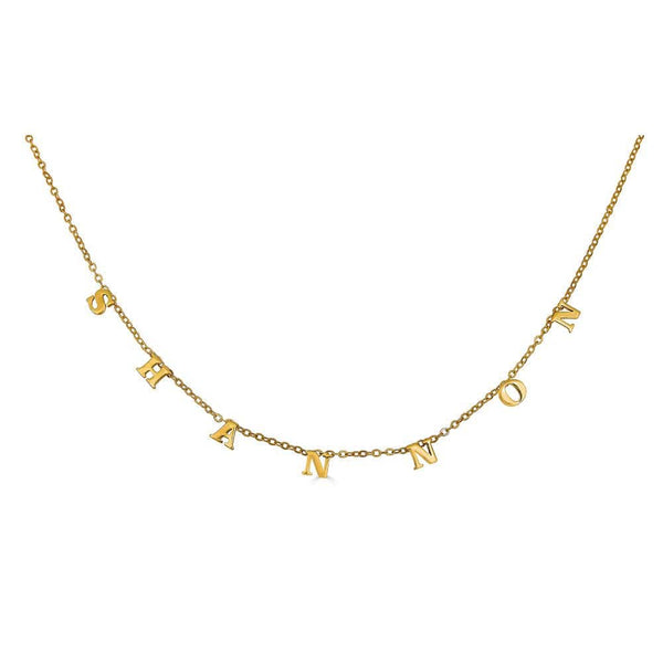 Ari&Lia 14K Kids Name Necklace 14K Yellow Gold 14K Block Kids Spaced Out Name Necklace 5500-14K-YG
