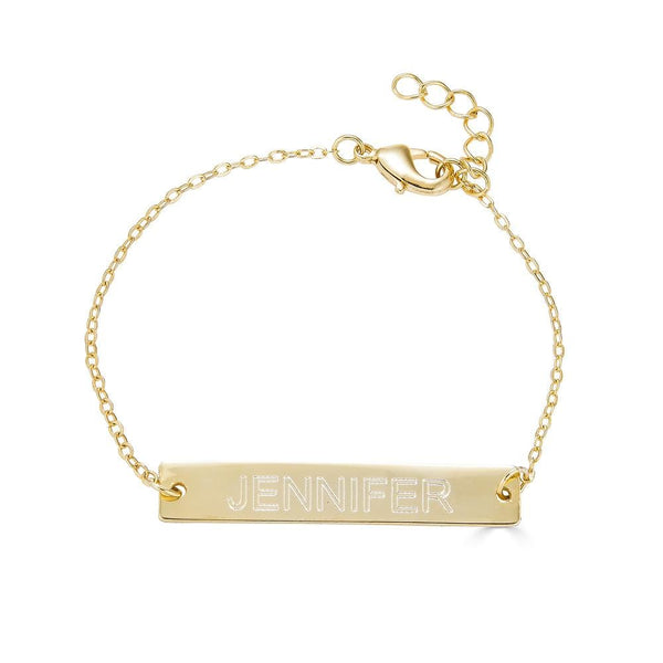 Ari&Lia 14K Kids Name Necklace 14K Yellow Gold 14K Kids Engravable Bar Bracelet NB90651-14K-YG