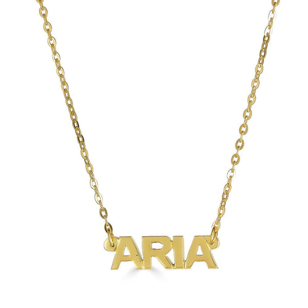 Ari&Lia 14K Kids Name Necklace 14K Yellow Gold 14K Mini Kids Block Name Necklace NP90043-BLOCK-14K-YG
