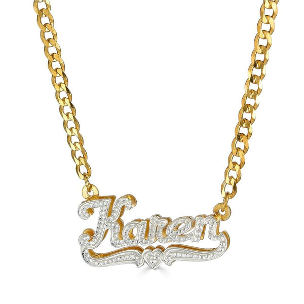 Ari&Lia 14K Name Necklace 14K Yellow Gold 14K Diamond Accent Double Plated With Curb Chain NP90693-CURB-14K-YG 10K