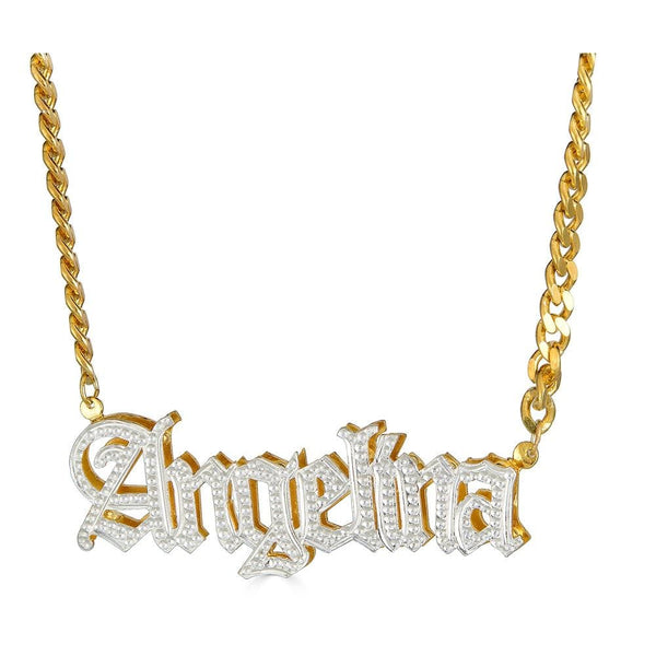 Ari&Lia 14K Name Necklace 14K Yellow Gold 14K Double Plated Gothic Name Necklace With Curb Chain NP30578-DBL-14K-YG