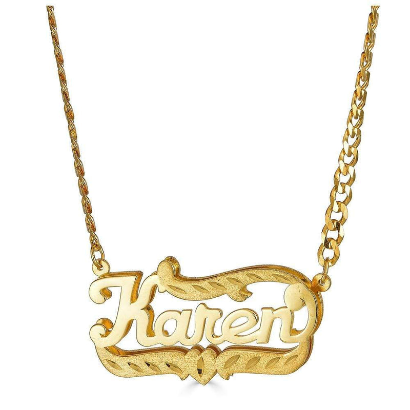 Ari&Lia 14K Name Necklace 14K Yellow Gold 14K Double Plated Name Necklace with Curb Chain NP90588-14K-YG