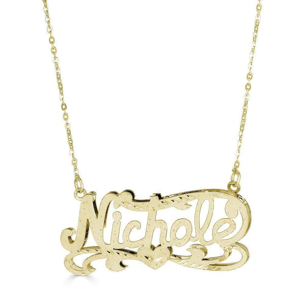 Ari&Lia 14K Name Necklace 14K Yellow Gold 14K Double Plated Nicole Name Necklace NP90587-14K-YG