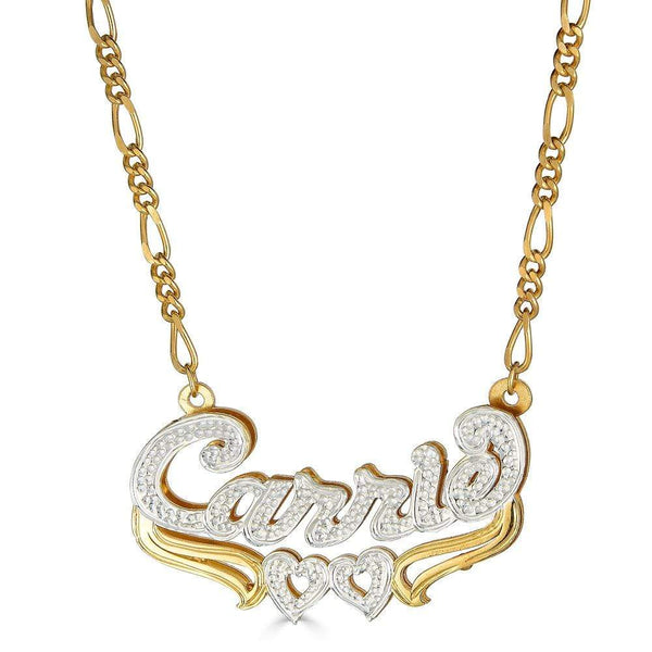 Ari&Lia 14K Name Necklace 14K Yellow Gold 14K Double Plated With Double Heart Underline NP30526-14K-YG