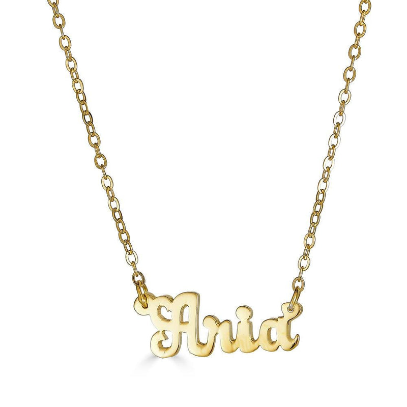 Ari&Lia 14K Name Necklace 14K Yellow Gold 14K Script Mini Name Necklace NP90043-SCRIPT-14K-YG