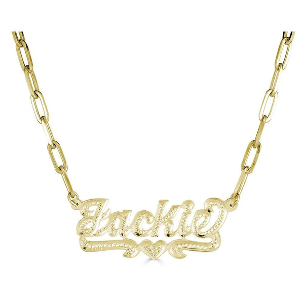 Ari&Lia 14K Name Necklace 14K Yellow Gold 14K Single Plated Script Name Necklace with Paper Clip Chain 873-PPC-14K