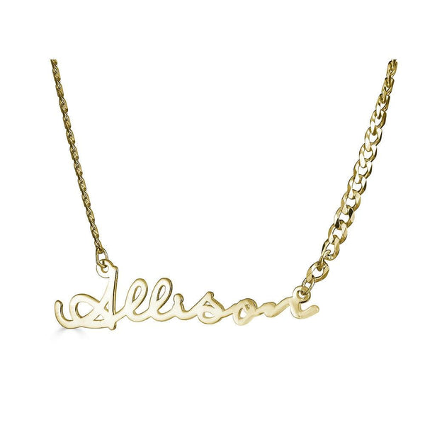 Ari&Lia 14K Name Necklace 14K Yellow Gold 14K Single Signature Name Necklace with Curb Chain NP30606-14K-YG