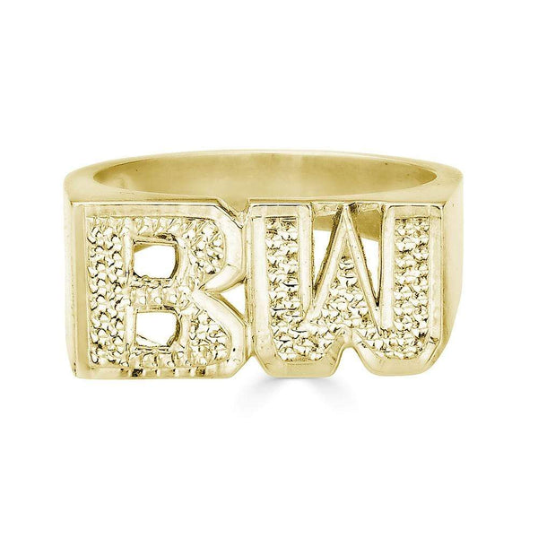Ari&Lia 14K Name Rings 14K Yellow Gold 14K Intial Name Ring With Diamond Accent NR90625-14K-YG