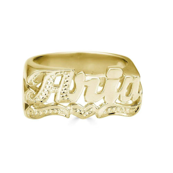Ari&Lia 14K Name Rings 14K Yellow Gold 14K Script Name Ring with Diamond Accent On First Letter And Underline NR90626-14K-YG