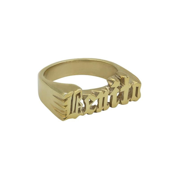Ari&Lia 14K Name Rings 14K Yellow Gold 14K Women's Gothic Script Name Ring NR30578-14K