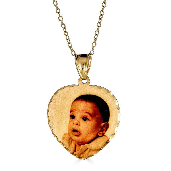 Ari&Lia 14K Photo Pendants 14K Yellow Gold 14K Heart Diamond Cut Picture Pendant C90566-14K-YG