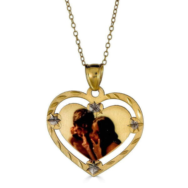 Ari&Lia 14K Photo Pendants 14K Yellow Gold 14K Heart Shape Diamond Cut Edge Picture Pendant C90061-14K-YG