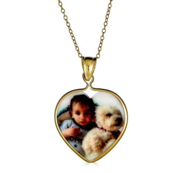 Ari&Lia 14K Photo Pendants 14K Yellow Gold 14K Heart Shape Mother Of Pearl Picture Pendant C91109-14K-YG