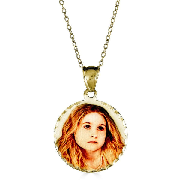Ari&Lia 14K Photo Pendants 14K Yellow Gold 14K Round Picture Pendant With Diamond Cut Edge C90565-14K-YG