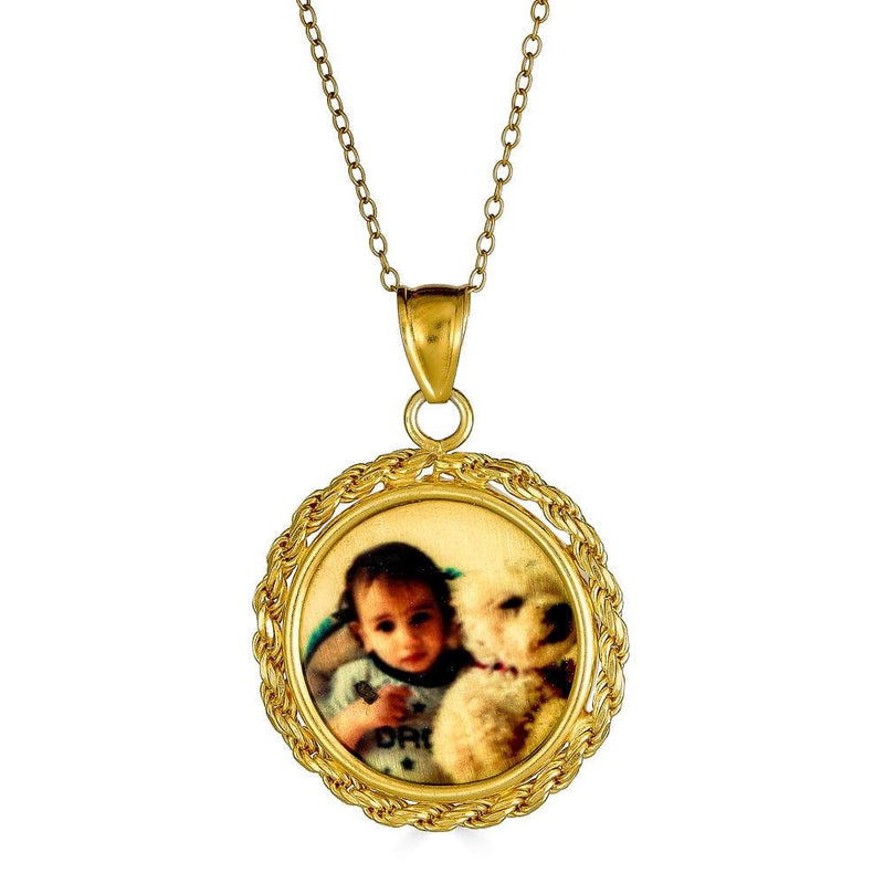 Ari&Lia 14K Photo Pendants 14K Yellow Gold 14K Round Rope Framed Picture Pendant C90576-14K-YG