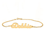 Ari&Lia Anklets 18K Gold Over Silver Script High Polish Name Ankle Bracelet