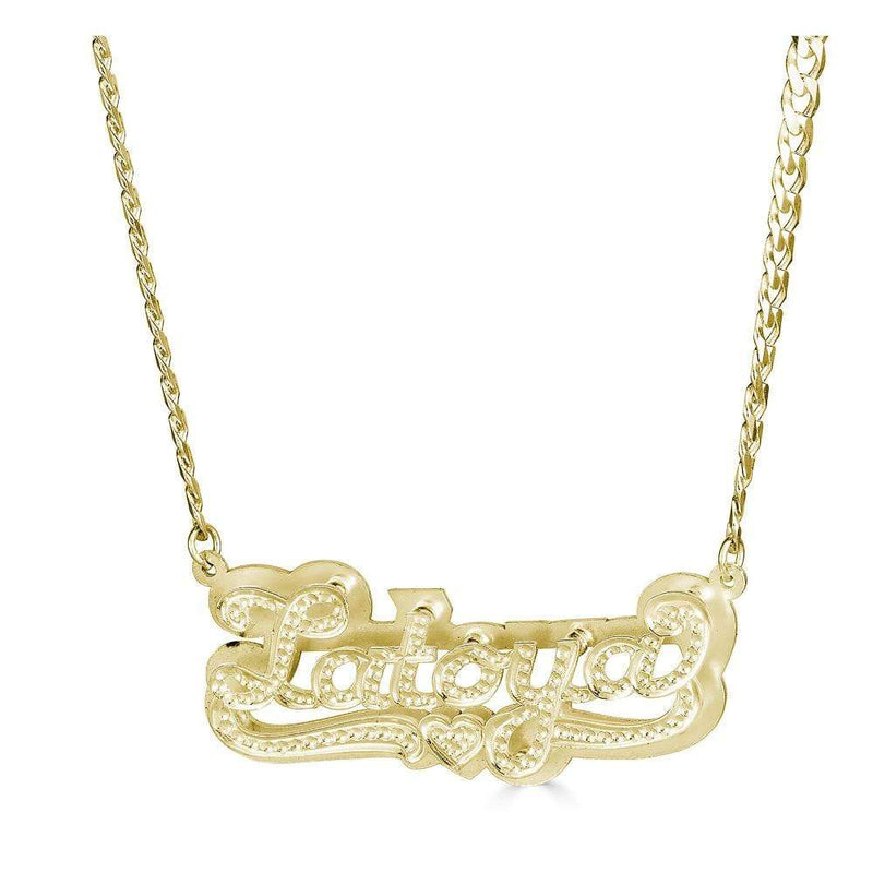 Ari&Lia CURB CHAINS 18K Gold Over Silver Diamond Accent Double Plated Name Necklace With Curb Chain NPGF101-Curb-GPSS