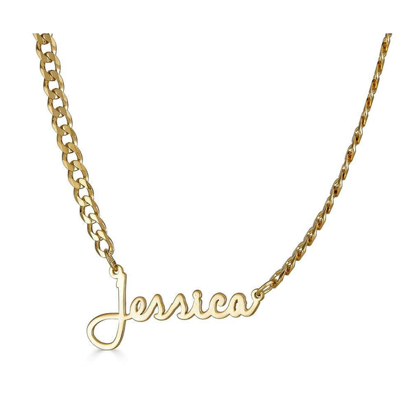 Ari&Lia CURB CHAINS 18K Gold Over Silver Single High Polish Script Name Necklace With Curb Chain NP30543-Curb-GPSS