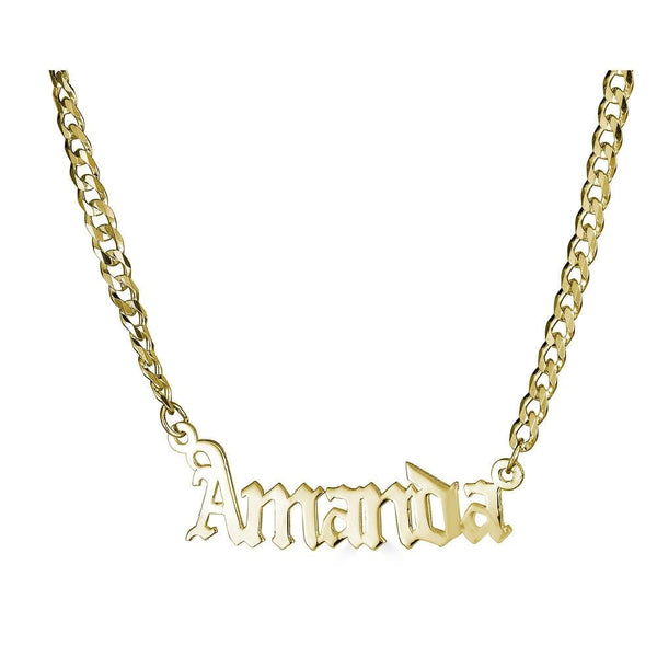 Ari&Lia CURB CHAINS 18K Gold Over Silver Single Plate High Polish Gothic Name Necklace With Curb Chain NP30578-Curb-GPSS