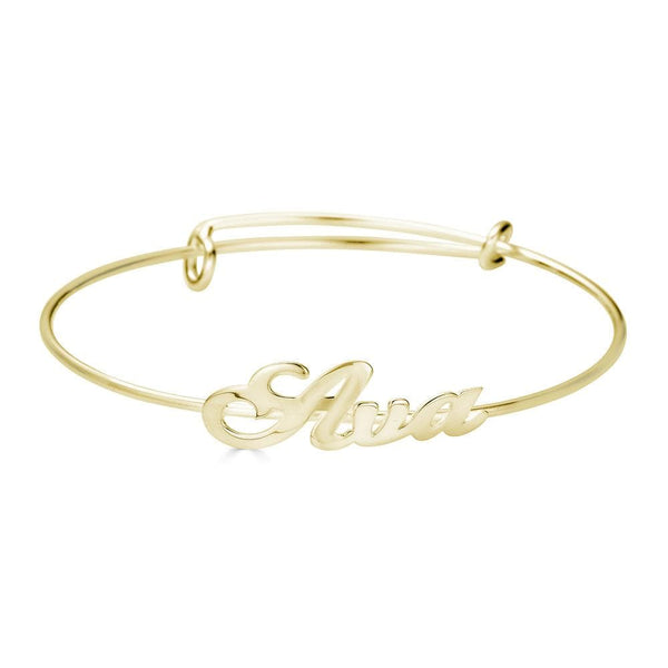 Ari&Lia Delicate 18K Gold Over Silver Adjustable Name Bangle NB91688-BRS-GPSS