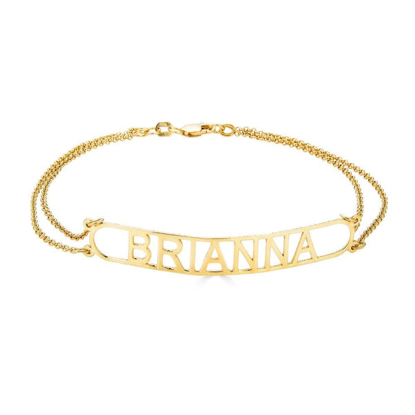 Ari&Lia Delicate 18K Gold Over Silver Bar Name Bracelet NB91694-BRS-GPSS