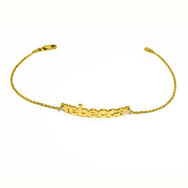 Ari&Lia Delicate 18K Gold Over Silver Block Mini Name Bracelet NB90043-BLOCK-GPSS