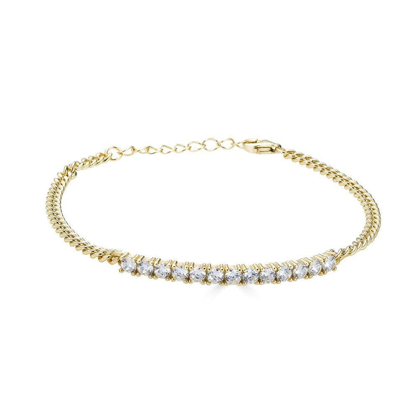 Ari&Lia Delicate Bracelets 18K Gold Over Silver Curb Bracelet with CZ Bar 10013-GPSS
