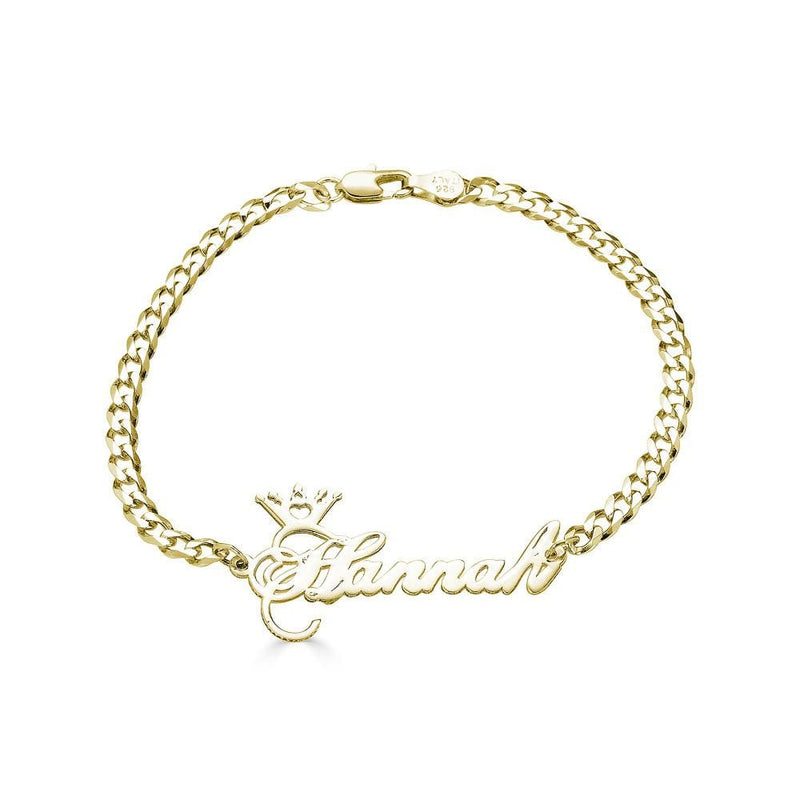 Ari&Lia Delicate 18K Gold Over Silver Crown Name Bracelet BRC30568-BRS-GPSS