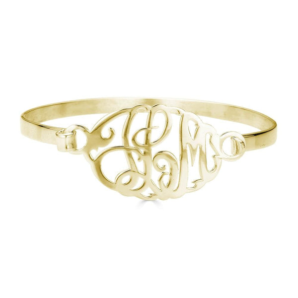 Ari&Lia Delicate 18K Gold Over Silver Monogram Bangle ZB30533-GPSS