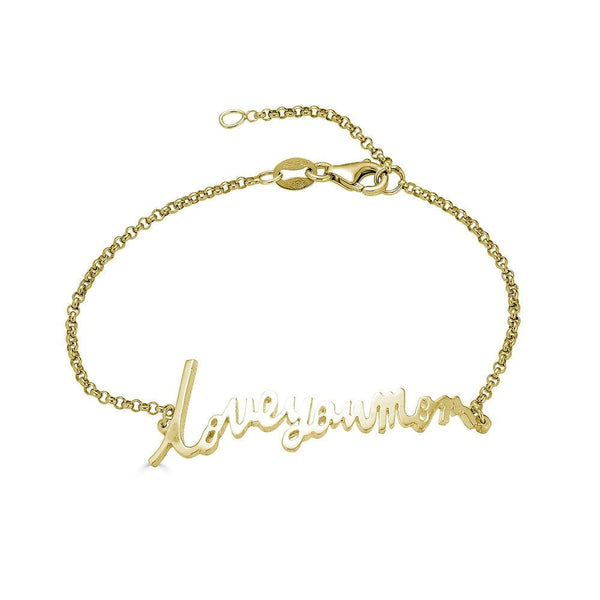 Ari&Lia Delicate 18K Gold Over Silver Personalized Signature Name Bracelet NB5047-GPSS