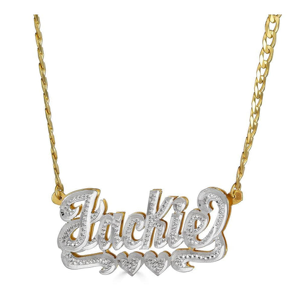 Ari&Lia Double Plated Necklaces 18K Gold Over Silver Diamond Accent Double Name Necklace With Double Heart on Curb Chain 08Q4023-CURB-GPSS