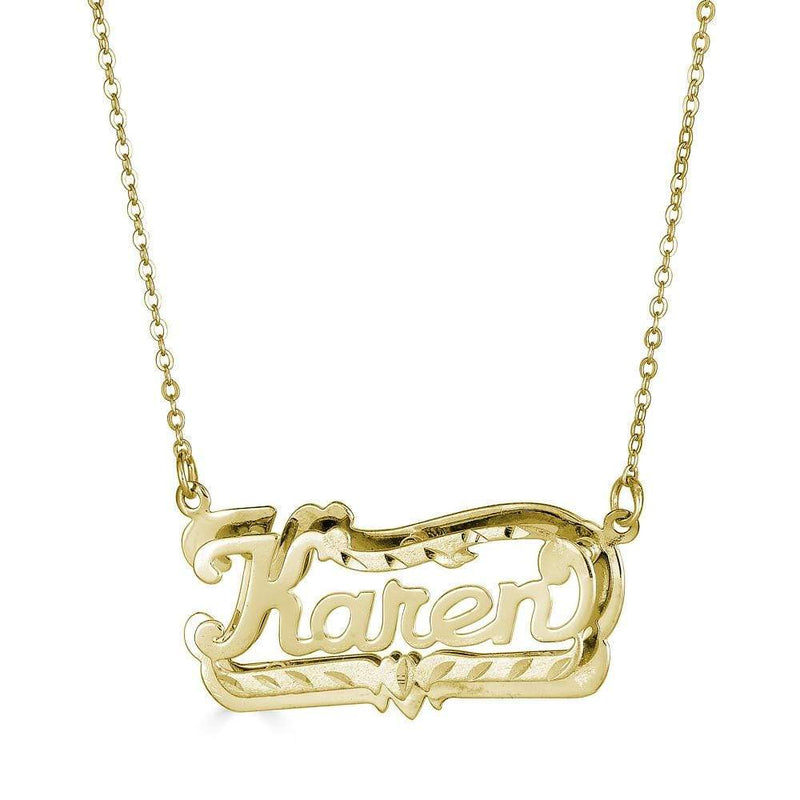 Ari&Lia Double Plated Necklaces 18K Gold Over Silver Diamond Cut Double Plated Name Necklace NP80047-GPSS