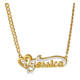 Ari&Lia Double Plated Necklaces 18K Gold Over Silver Double Plated With Cross And Curb Chain NP90589-CURB-GPSS