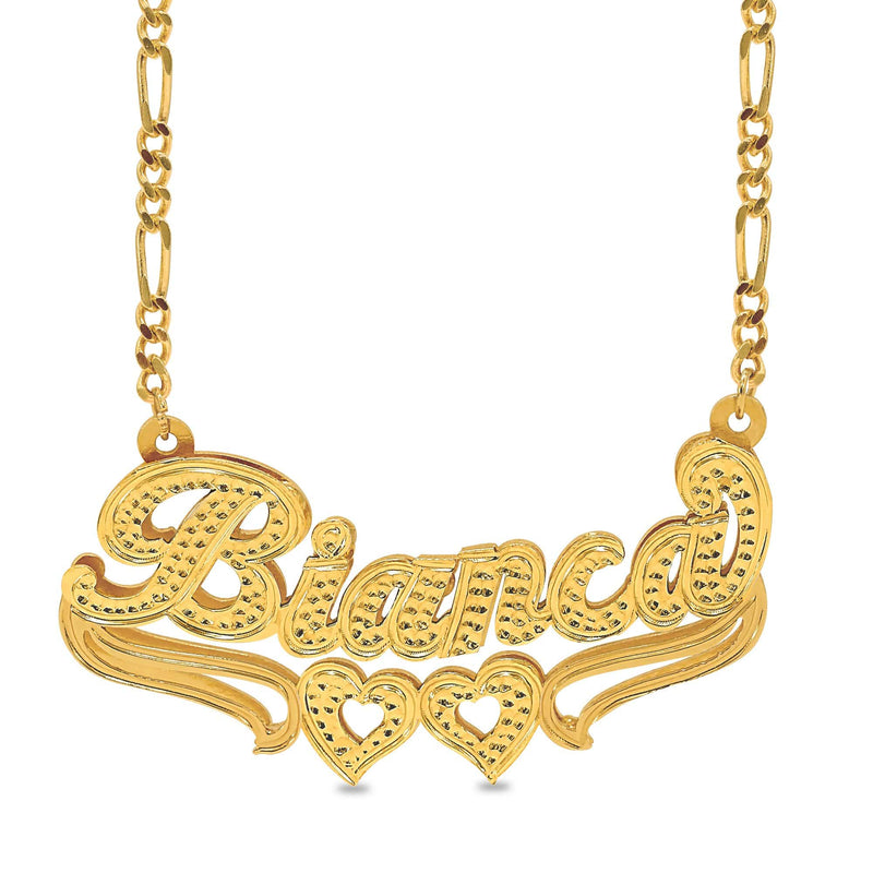 Ari&Lia Double Plated Necklaces 18K Gold Over Silver Kylie Style Double Plated Heart Name Necklace NP30526-GPSS