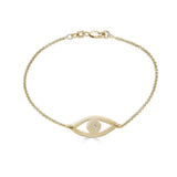 Ari&Lia 18K Gold Over Silver Evil Eye Bracelet With CZ 10010-GPSS