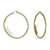 Ari&Lia Hoop Earrings 18K Gold Over Silver Block Letter Inside Hoop Name Earrings NE91368-GPSS