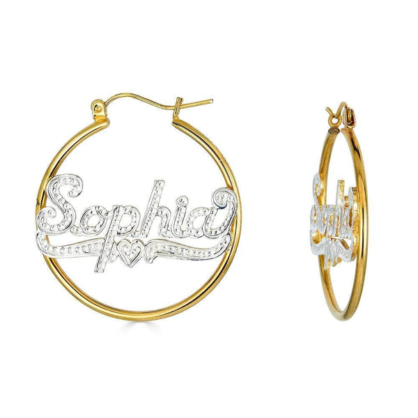 Ari&Lia Hoop Earrings 18K Gold Over Silver Hoop Earrings With Diamond Accent NE90464-GPSS