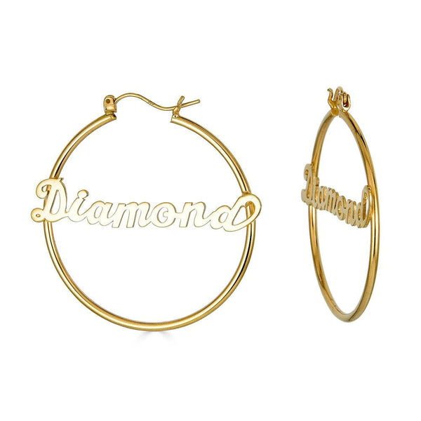 Ari&Lia Hoop Earrings 18K Gold Over Silver Script Hoop Name Earrings NE90021-BRS-GPSS