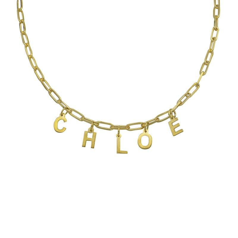 Ari&Lia Kids Name Necklace 18K Gold Over Silver Kids Paper Clip Necklace with Block Letters P5050-KIDS-GPSS