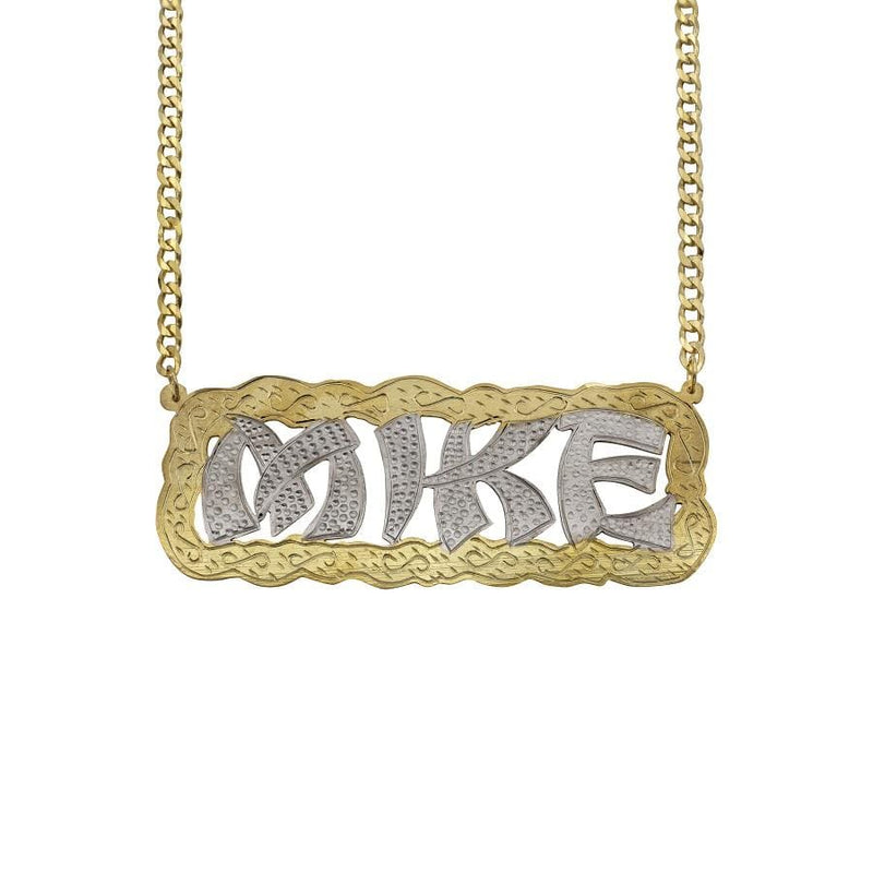 Ari&Lia MENS 18K Gold Over Silver Men's Funky Double Name Necklace with Curb Chain