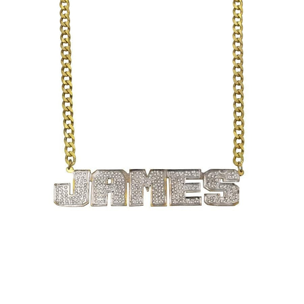 Ari&Lia MENS 18K Gold Over Silver Men's Single Plated Name Necklace With Curb Chain 897-CURB-GPSS