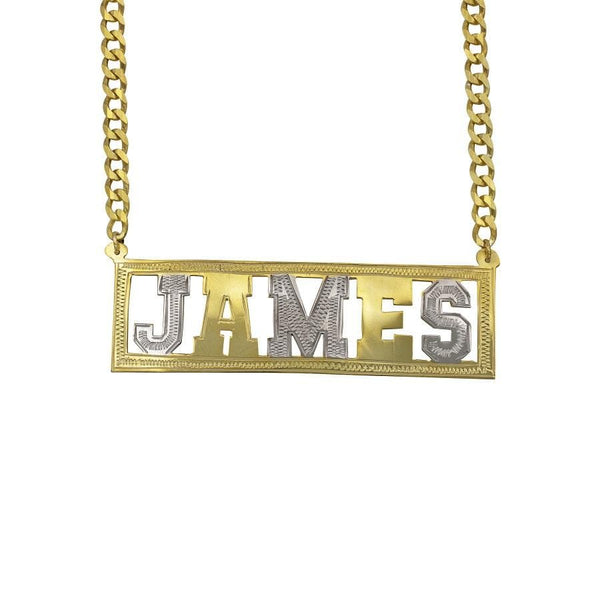 Ari&Lia MENS 18K Gold Over Silver MENS SINGLE BLOCK NAME NECKLACE WITH CURB CHAIN GF-135-GPSS
