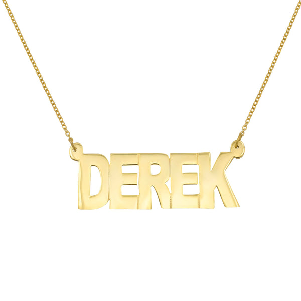 Ari&Lia MENS 18K Gold Over Silver Single Block Letters Men's Name Necklace NP90046-GPSS