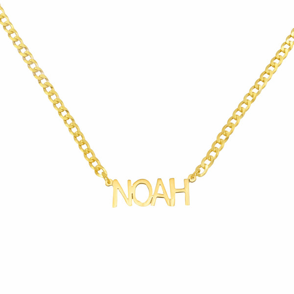 Ari&Lia MENS 18K Gold Over Silver Single Block Name Necklace with Curb Chain