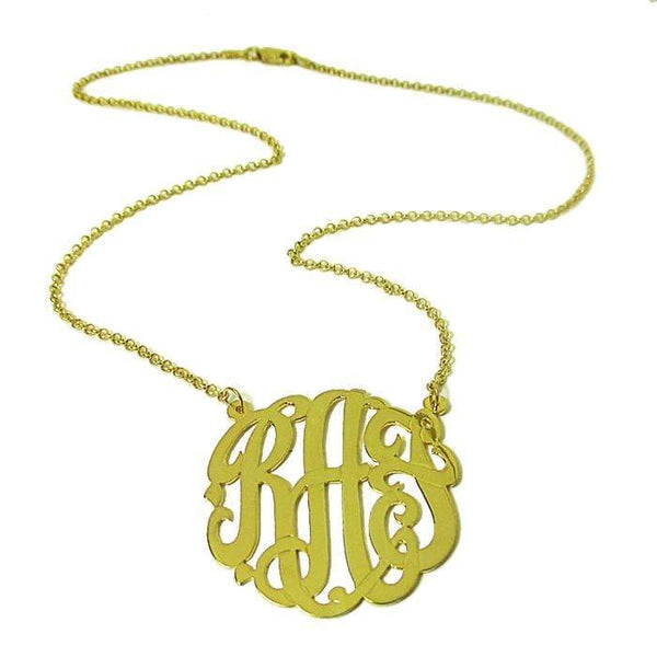 "Ari&Lia Monogram & Trendy 18K Gold Over Silver 1.25"" Three Letter Script Monogram Necklace ZC90833L-A-GPSS"