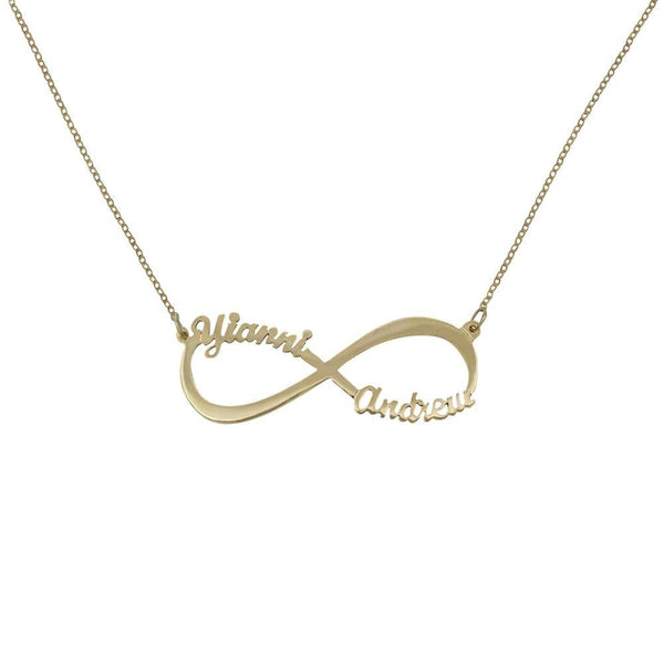 "Ari&Lia Monogram & Trendy 18K Gold Over Silver 1.5"" Script Infinity Couple Name Necklace NP30565-GPSS"