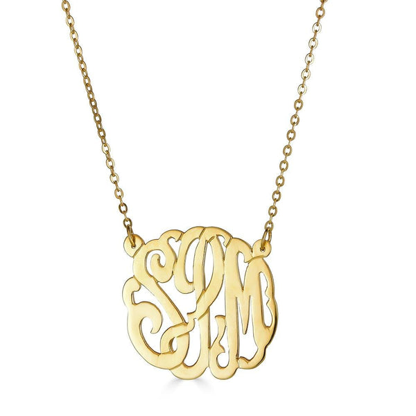 "Ari&Lia Monogram & Trendy 18K Gold Over Silver 1"" Three Letter Script Monogram Necklace ZC90834L-A-GPSS"