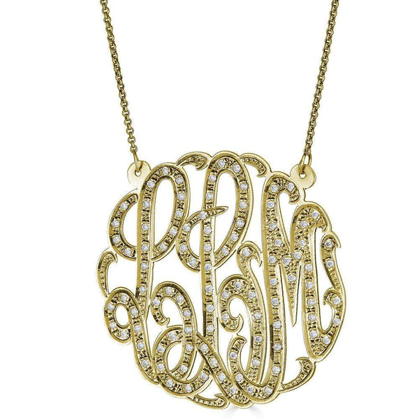 "Ari&Lia Monogram & Trendy 18K Gold Over Silver 2"" Three Letter Script Monogram Necklace With 1.25 Ct Diamonds ZC90831L-A-GPSS"