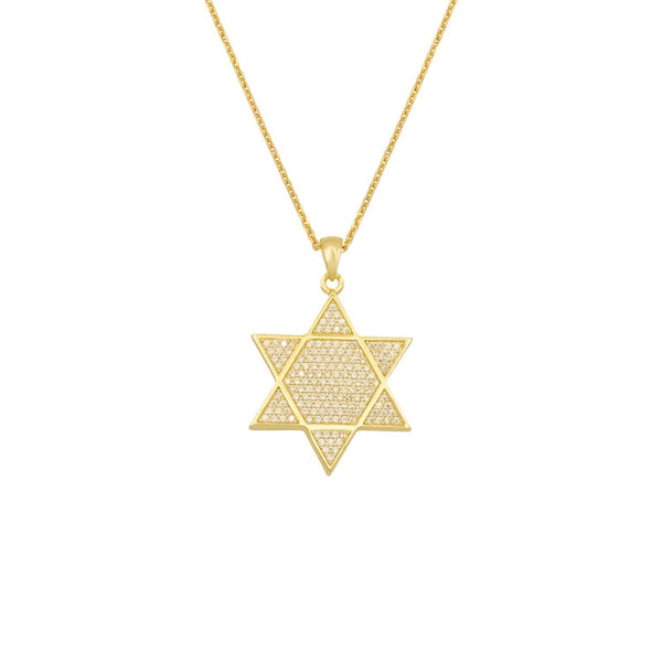 Ari&Lia PAPERCLIP COLLECTION 18K Gold Over Silver Star Of David Necklace with Cubic Zirconia 11021-SS